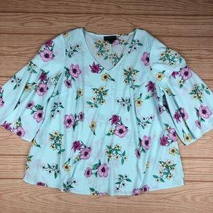 LANE BRYANT Flutter Sleeve Floral Blouse